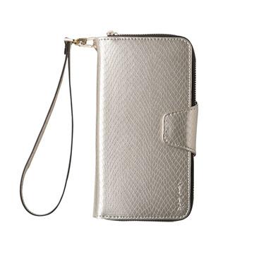 iPhone 7-蛇皮壓紋拉鍊式錢包皮套_香檳色