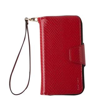 iPhone 7 Plus -蛇皮壓紋拉鍊式錢包皮套_嫣紅色