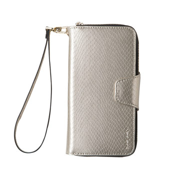 iPhone 7 Plus -蛇皮壓紋拉鍊式錢包皮套_香檳色