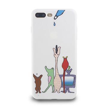 iPhone 7 Plus-小資族淺浮雕保護背套_空靈白