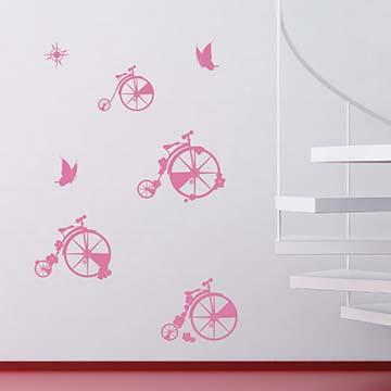 【Smart Design】創意無痕壁貼◆花漾單車行八色可選)