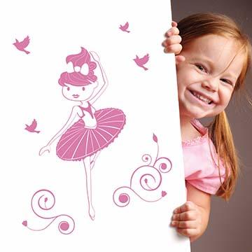 【Smart Design】創意無痕壁貼◆芭蕾女孩(八色可選)