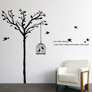 【Smart Design】創意無痕壁貼◆鳥籠與樹(八色可選)