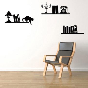 【Smart Design】創意無痕壁貼◆書架與貓(八色可選)
