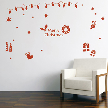 【Smart Design】創意無痕壁貼◆快樂耶誕節(八色可選)