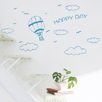 【Smart Design】創意無痕壁貼◆熱氣球與白雲 8色可選