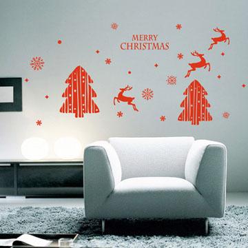 【Smart Design】創意無痕壁貼◆聖誕樹與麋鹿(八色可選)
