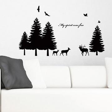 【Smart Design】創意無痕壁貼◆松樹森林(八色可選)