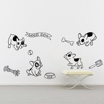 【Smart Design】創意無痕壁貼◆快樂鬥牛犬 (8色可選)