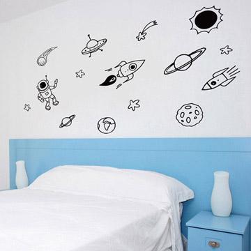 【Smart Design】創意無痕壁貼◆太空狂想 (8色可選)