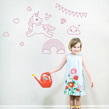 Smart Design 創意無痕壁貼◆可愛獨角獸( 8色)