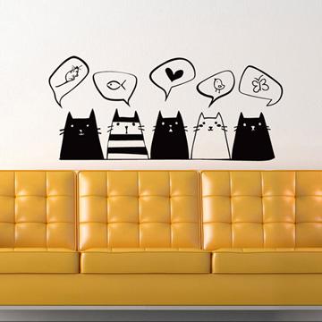 【Smart Design】創意無痕壁貼◆貓咪悄悄話 (8色可選)