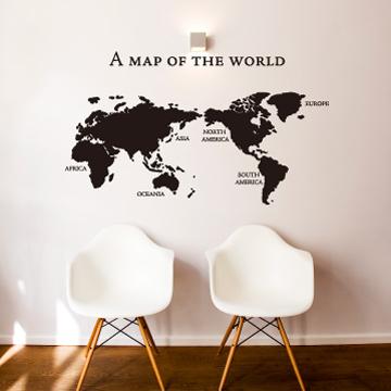 【Smart Design】創意無痕壁貼◆world map  黑