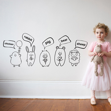 Smart Design 創意無痕壁貼◆動物單字( 8色)