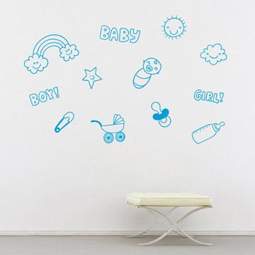Smart Design 創意無痕壁貼◆親親寶貝( 8色)