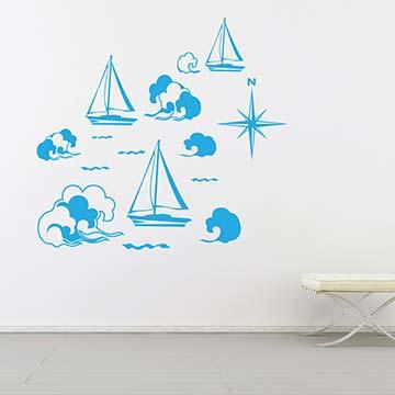 Smart Design 創意無痕壁貼◆來航行吧( 8色)