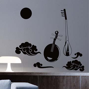 【Smart Design】創意無痕壁貼◆月琴古調(八色可選)
