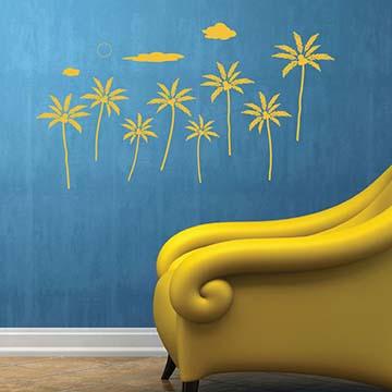 【Smart Design】創意無痕壁貼◆椰子樹Sky(八色可選)