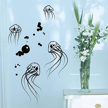 【Smart Design】創意無痕壁貼◆水母水母(八色可選)