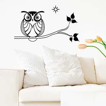 【Smart Design】創意無痕壁貼◆樹梢上的貓頭鷹(八色可選)