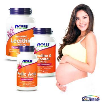 NOW健而婷-呵護孕媽咪套組(孕寶錠-葉酸B12+卵磷脂+肌醇)