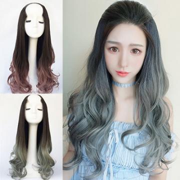 【MW358】全新設計U型半罩式假髮 韓系浪漫挑染大捲長髮 逼真自然☆雙兒網☆