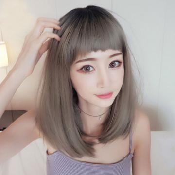 【MC369】狗啃瀏海 中長直髮  髮尾微內捲 高仿真 整頂假髮