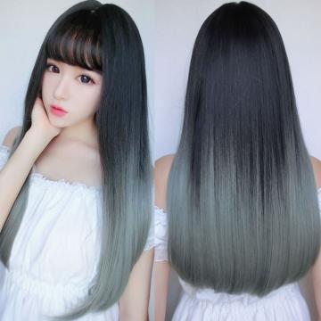 【MC376】黑漸變亞麻灰 韓系高仿真 直髮髮尾微捲假髮 空氣瀏海  耐熱