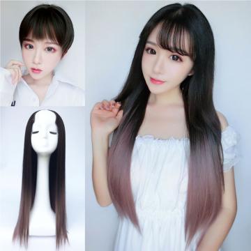 【MW375】全新設計U型半罩式假髮 韓系挑染大長直髮 逼真自然