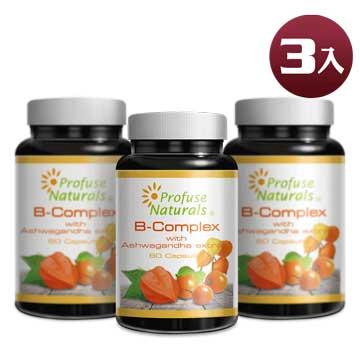 優沛康【沛然 Profuse Naturals】沛康南非醉茄+綜合B群綜合膠囊 (60顆/瓶) 3入組