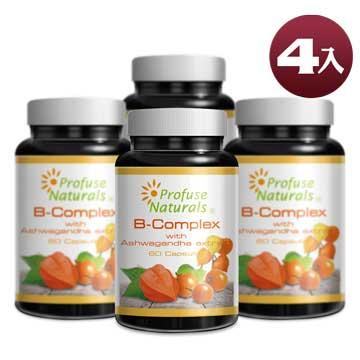 優沛康【沛然 Profuse Naturals】沛康南非醉茄+綜合B群綜合膠囊 (60顆/瓶) 4入組