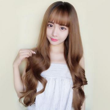【MA388】韓系高仿真頭頂染黑 空氣瀏海  耐熱 長捲髮 假髮