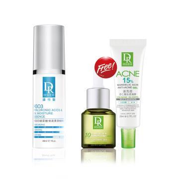 H3O3玻尿酸保濕潤澤精華液30ml  贈 10%杏仁酸深層煥膚精華15ml