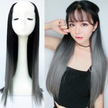 【MW415】新設計U型半罩式假髮 韓系浪漫挑染長直髮 逼真自然