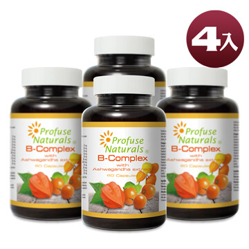 優沛康【沛然 Profuse Naturals】沛康南非醉茄+B群綜合膠囊 (60顆/瓶) 4入組