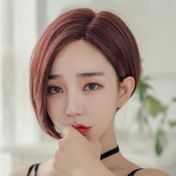 【MR92】不對稱韓式短髮 左側20右側31公分 仿真頭頂 抗菌內網 100%頂級整頂真髮